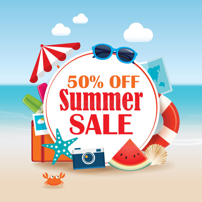 Summer sale background banner design template with colorful beach and object vacation elements. royalty free illustration