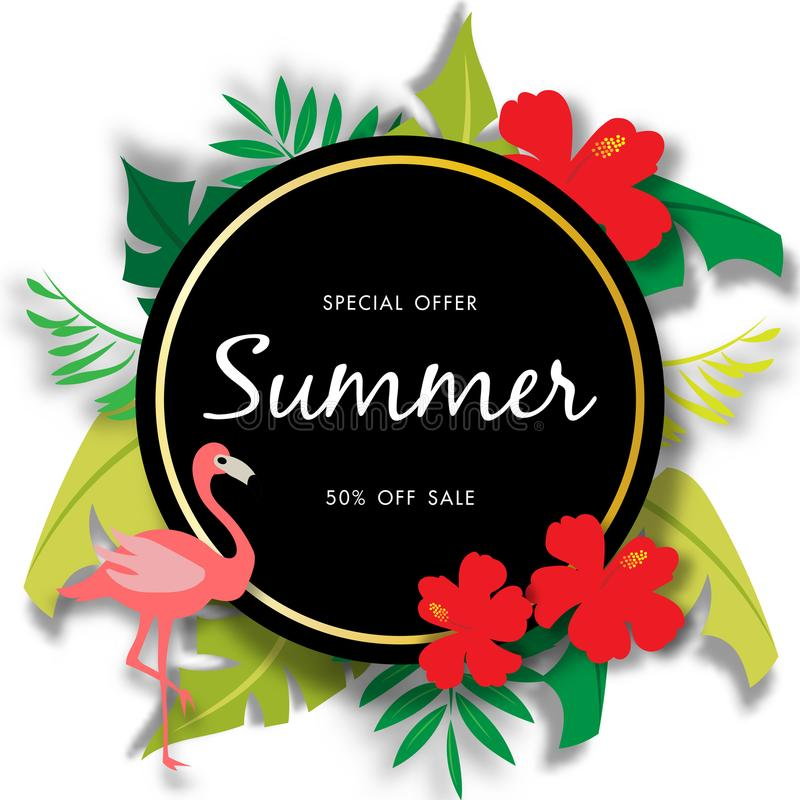 Summer sale background with beautiful flower, vector illustration template vector illustration