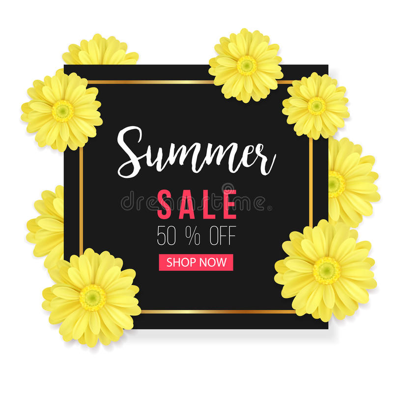 Summer sale background with beautiful yellow flower. Vector illustration template. Banners. Wallpaper. Flyers vector illustration
