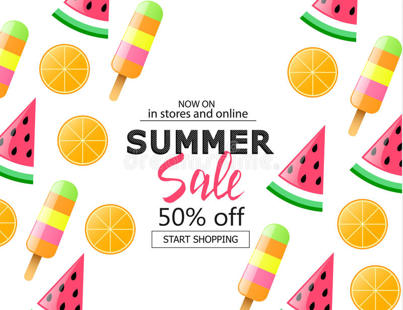 Summer sale background with colorful ice cream, slice watermelon and orange. Vector illustration template, banners. Wallpaper, fly stock illustration