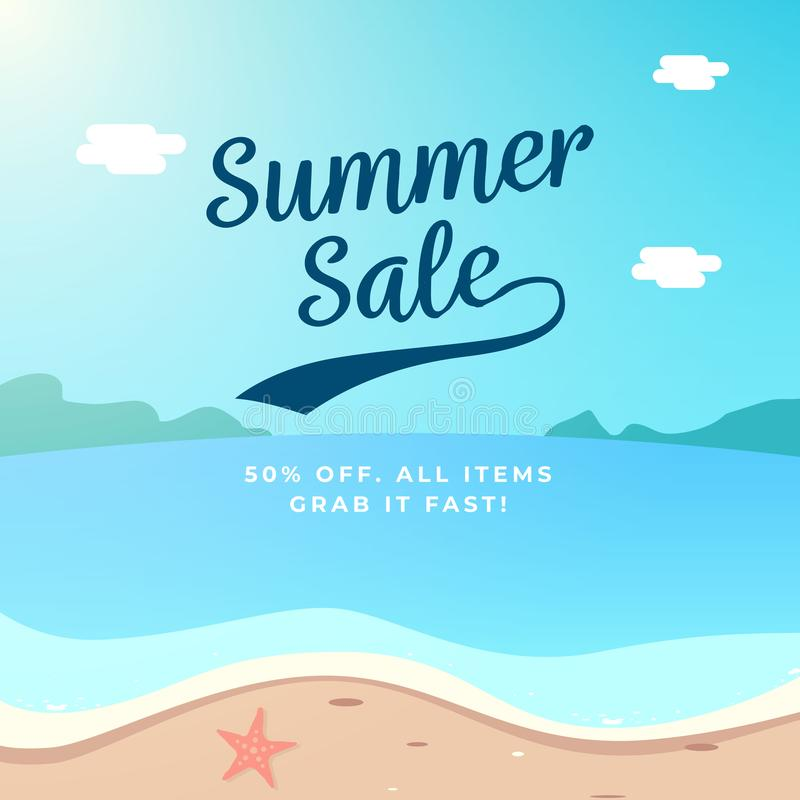 Summer Sale background design. beach scenery vector illustration royalty free illustration