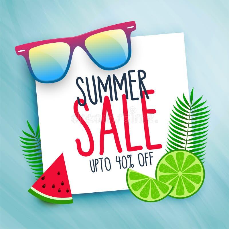 Summer sale background with design elements royalty free illustration
