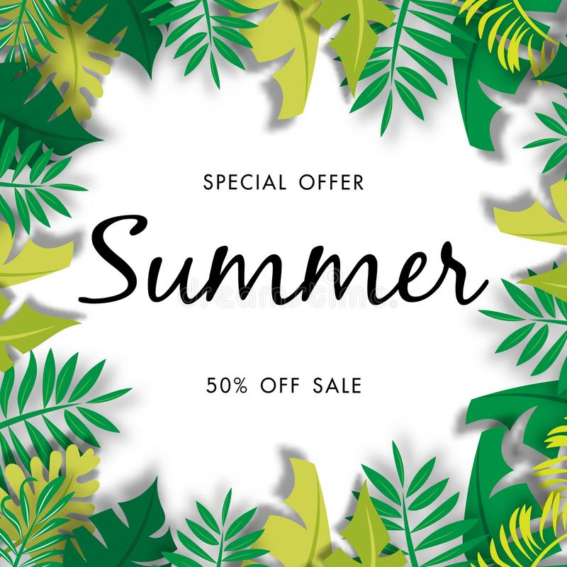 Summer sale background with green leave, vector illustration template. Summer sale background with green leave, special offer, discount, vector illustration vector illustration