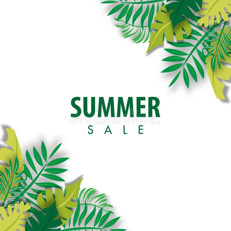 Summer Sale Background with palm leave tropical design Vector vector illustration