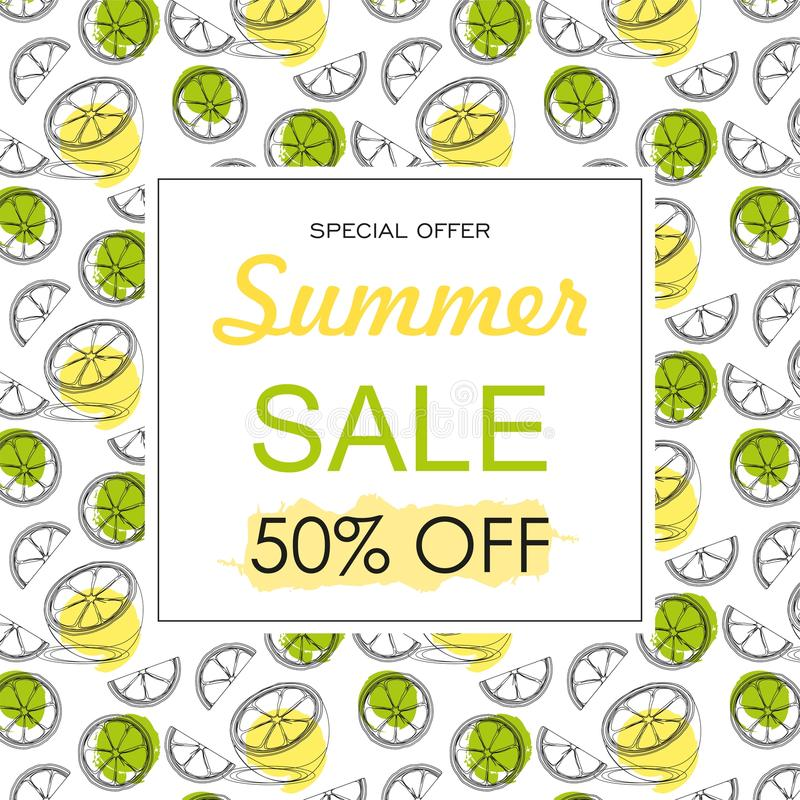 Summer sale background layout banners decorate with hand drawn citrus fruit . stock illustration