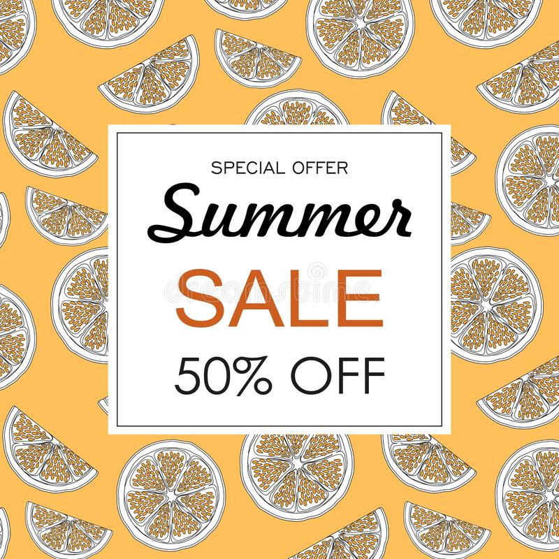 Summer sale background layout banners decorate with hand drawn orange stock illustration
