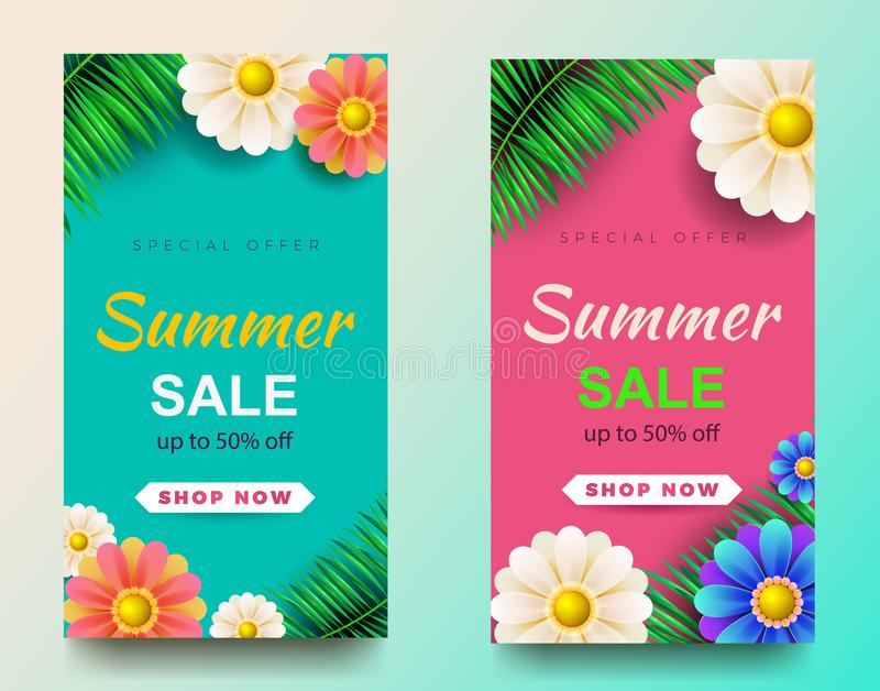 Summer sale background layout banners.voucher discount.Vector illustration template. royalty free illustration