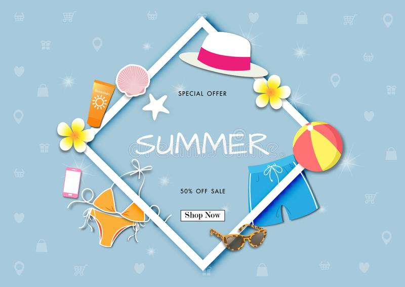 Summer sale background with paper art of summer accessories, vector illustration template royalty free illustration