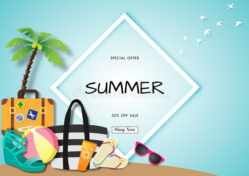 Summer sale background with paper art of summer accessories, vector illustration template, banners stock illustration
