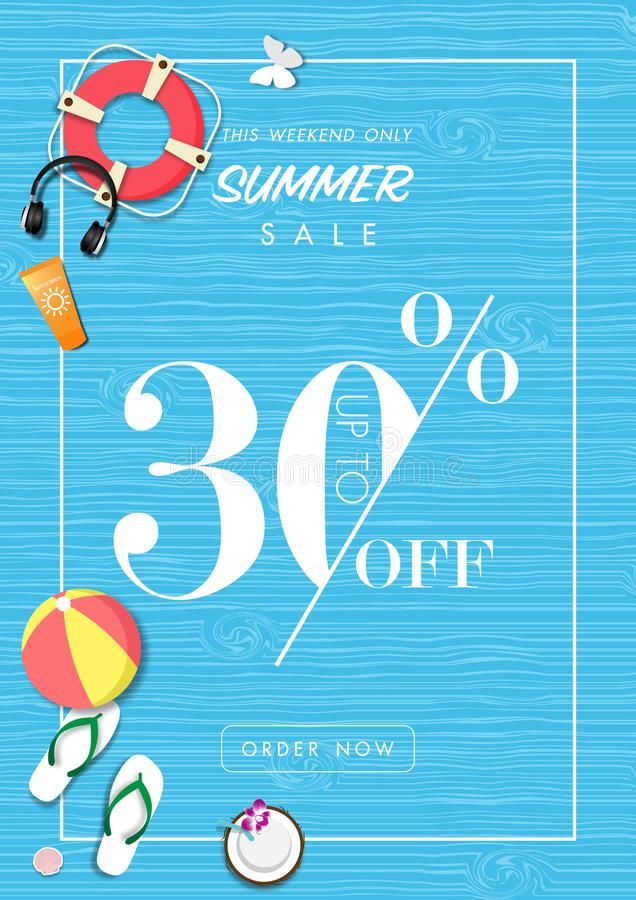 Summer sale background with paper art of summer accessories, vector illustration template stock illustration