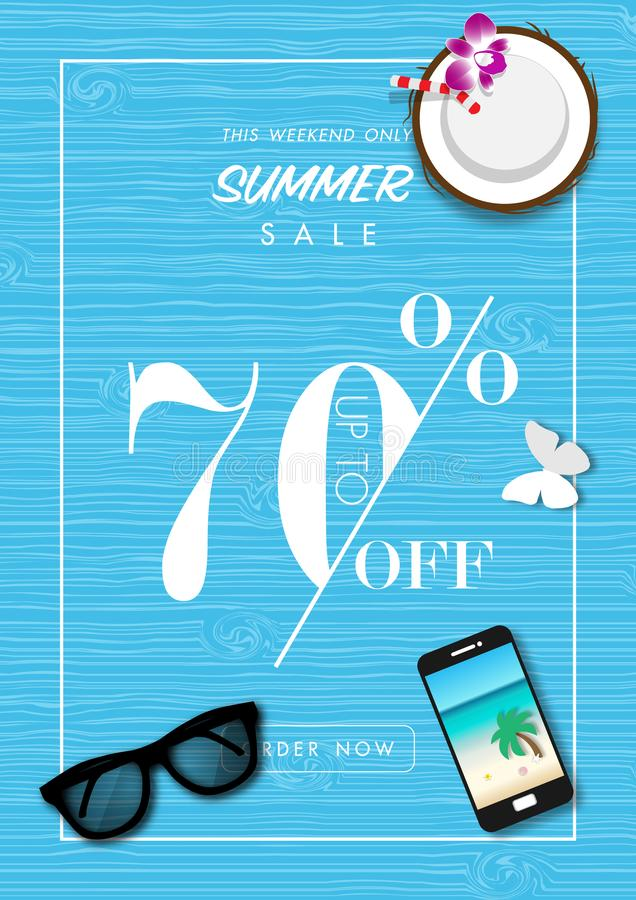Summer sale background with paper art of summer accessories, vector illustration template vector stock illustration