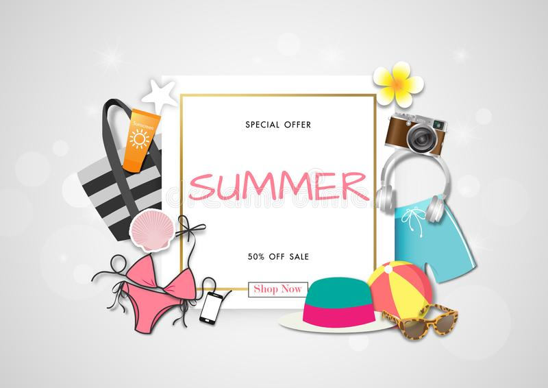Summer sale background with paper art of summer accessories, vector illustration template, banners royalty free illustration