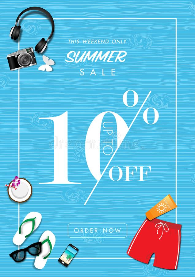 Summer sale background with paper art of summer accessories, vector illustration template, banners vector illustration