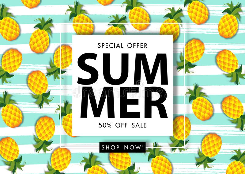 Summer sale background with pineapple, vector illustration template royalty free illustration