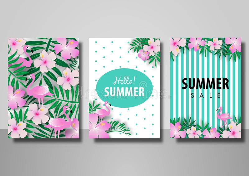 Summer sale background set vector illustration template with flamingo bird and palm leave stock illustration