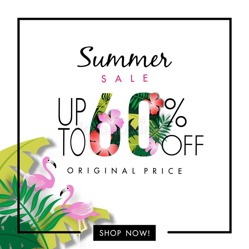Summer Sale Background, Sixty Percent Sale Off, Tropical Design Vector royalty free illustration