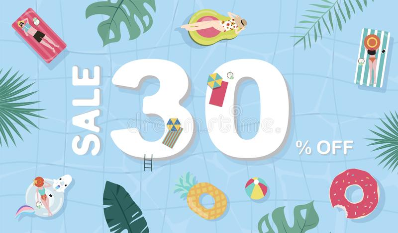 Summer sale background with tiny people,umbrellas, ball in the top view pool.Vector summer banner. Summer sale background with tiny people,umbrellas, ball  in royalty free illustration