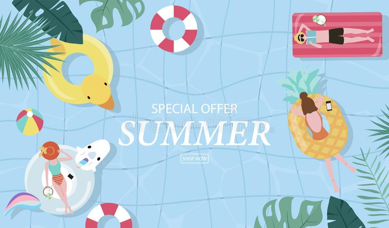 Summer sale background with people,umbrellas, ball,float  in the top view pool.Vector summer banner. Summer sale background with tiny people,umbrellas, ball vector illustration