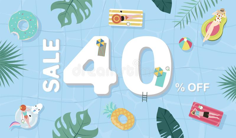 Summer sale background with tiny people,umbrellas, ball,float  in the top view pool.Vector summer banner. Summer sale background with tiny people,umbrellas, ball stock illustration