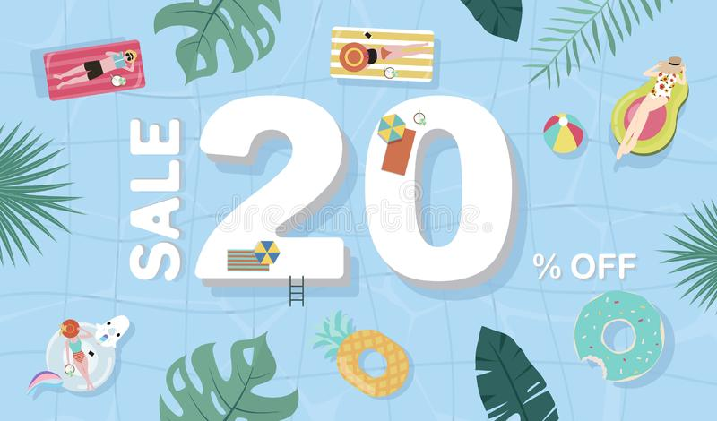 Summer sale background with tiny people,umbrellas, ball,float  in the top view pool.Vector summer banner. Summer sale background with tiny people,umbrellas,float royalty free illustration