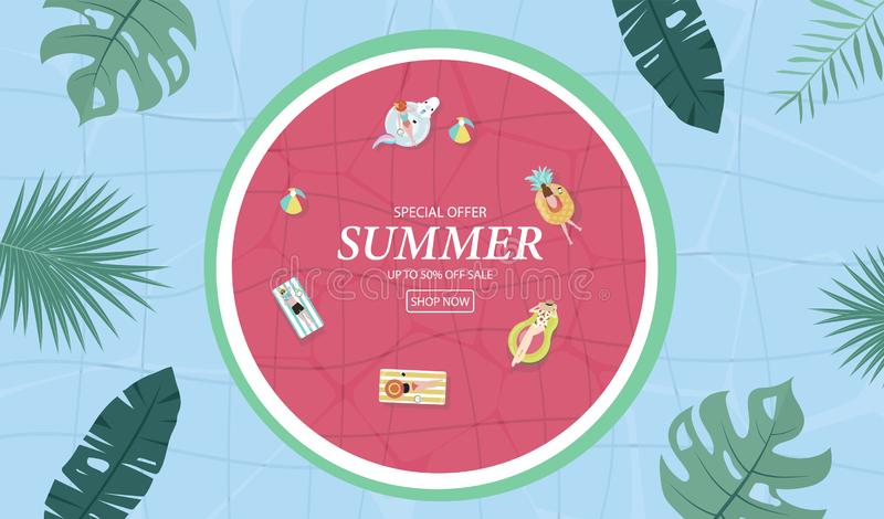 Summer sale background with tiny people,umbrellas, ball,swim ring,sunglasses,hat in the top view pool.Vector summer banner. Summer sale background with tiny stock illustration