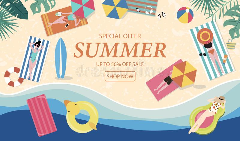 Summer sale background with tiny people,umbrellas, ball,swim ring,sunglasses,surfboard,hat,sandals in the top view beach.Vector. Summer banner royalty free illustration