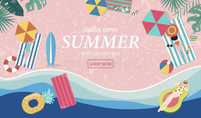 Summer sale background with tiny people,umbrellas, ball,swim ring,sunglasses,surfboard,hat,sandals in the top view beach.Vector. Summer sale background with tiny stock illustration