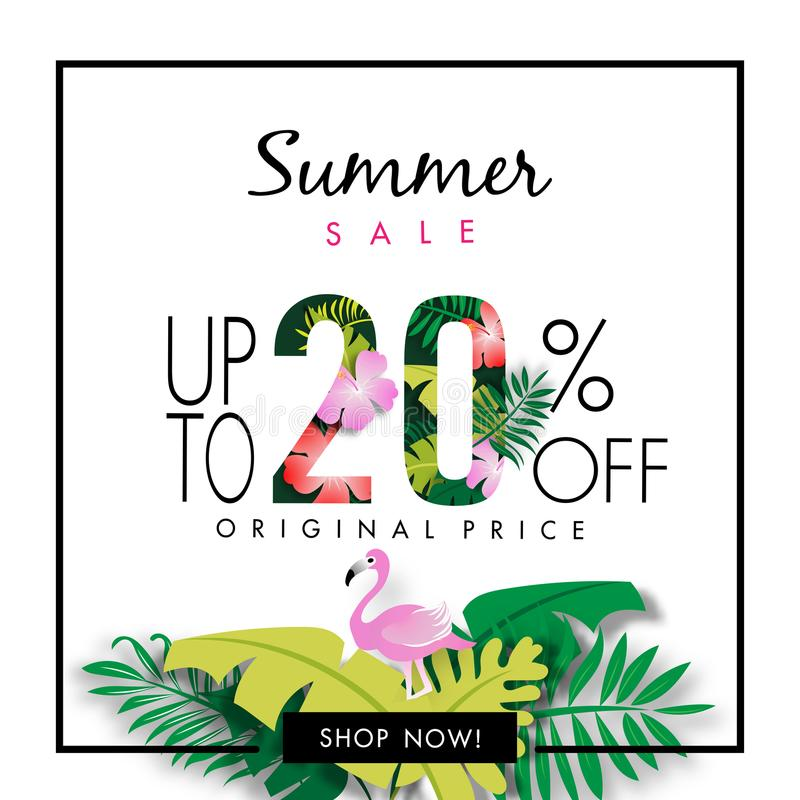 Summer Sale Background Tropical Design Vector vector illustration