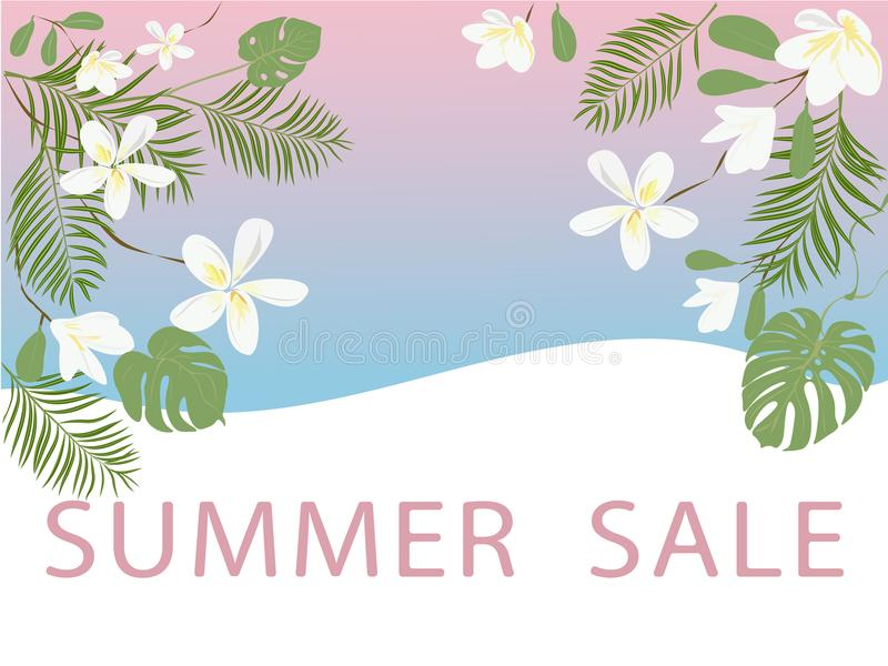 Summer sale background with tropical flowers and leaves. Vector illustration royalty free illustration