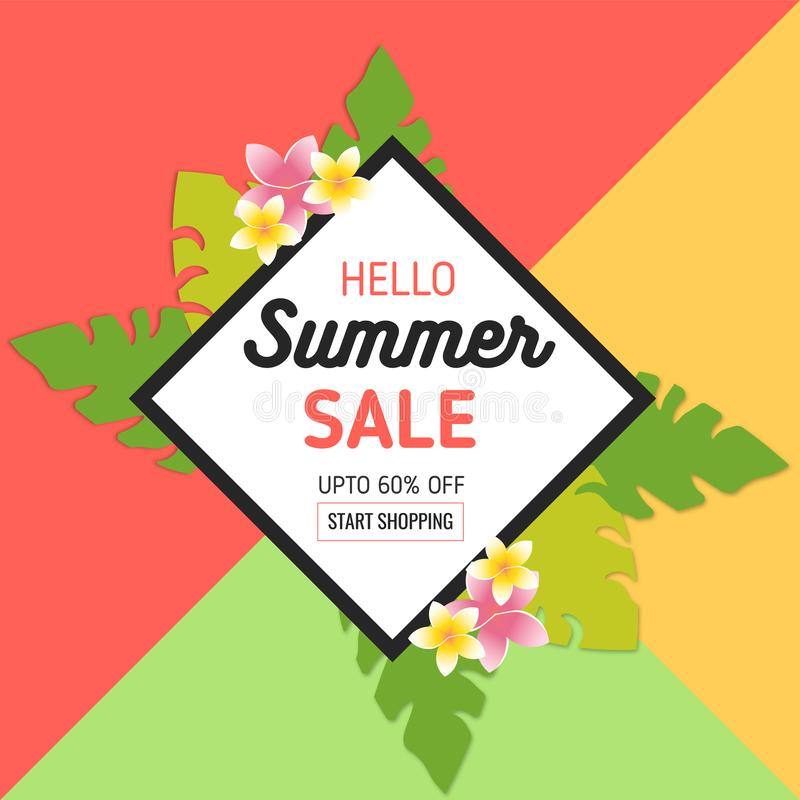 Summer Sale Background with Tropical Leaves and Flowers in realistic style and frame. Used for Invitation, Posters, Flyer, Brochur royalty free illustration