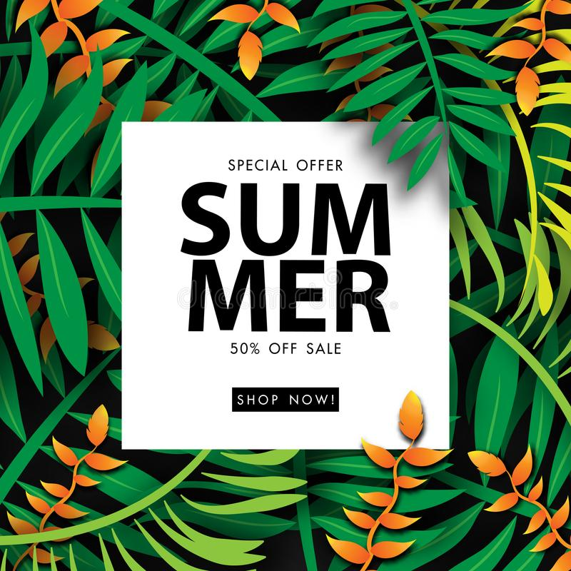 Summer sale background tropical sale off template with orange canna lilly flower and green leave vector illustration. Summer sale background tropical sale off stock illustration