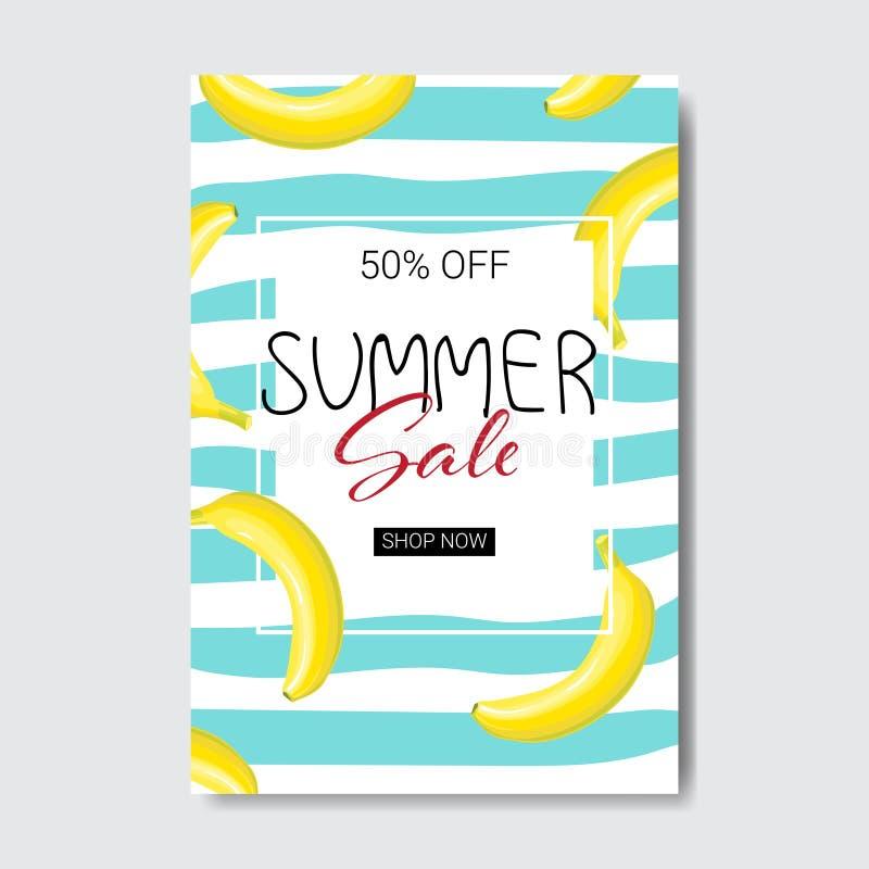 Summer sale banana lettering badge design label season shopping for logo templates invitation greeting card prints and vector illustration