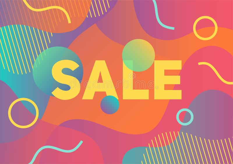 Summer sale banner with abstract paper cut colorful background royalty free stock images