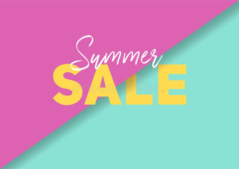 Summer sale banner with abstract paper cut colorful background royalty free stock photography