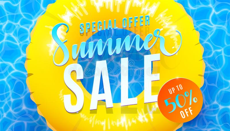 Summer sale banner background with blue water texture and yellow pool float. Vector illustration of sea beach offer stock illustration