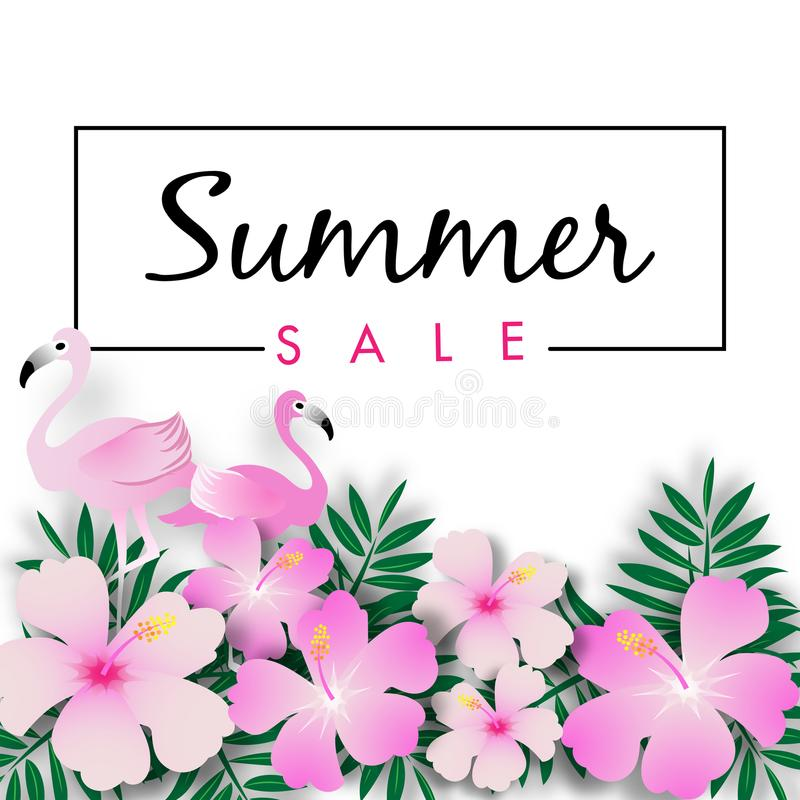 Summer Sale Banner Background with Tropical Design Vector royalty free illustration