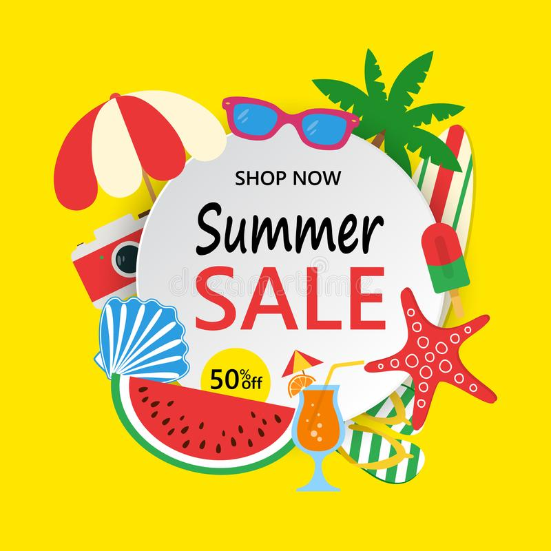 Summer Sale banner with colorful beach elements. Summer sale background with palm, surfboard, watermelon, sunglass stock illustration
