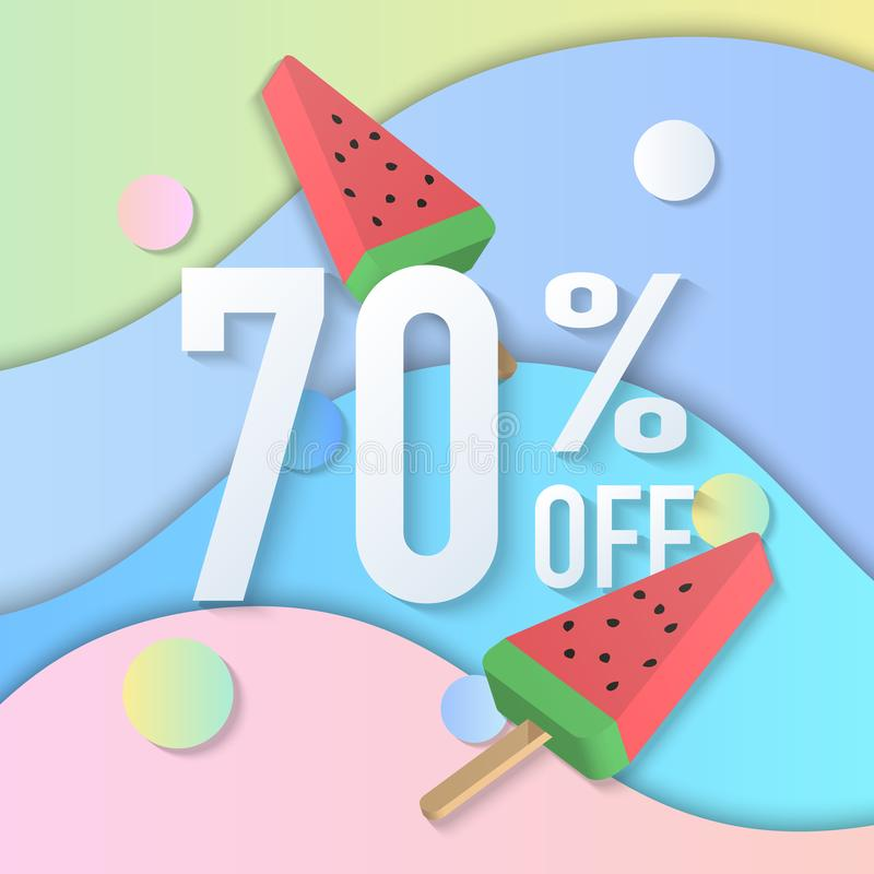 Summer sale banner 70% 3D pastel gradient colorful popsicle ice cream curve wave line. Idea for both for print and web promotion design vector illustration