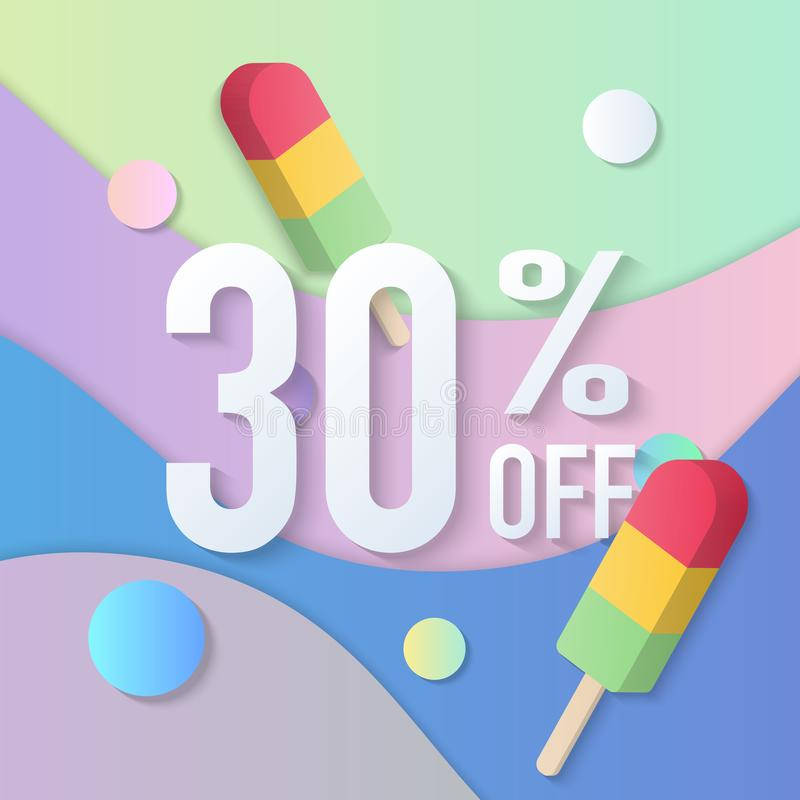 Summer sale banner 30% 3D pastel gradient colorful popsicle ice cream curve wave line. Idea for both for print and web promotion design stock illustration