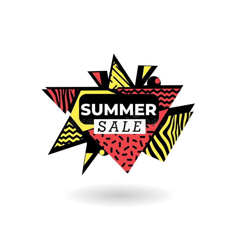 Summer sale banner design with memphis triangle abstract template vector illustration. Shop offer discount advertising modern retail mega store promotion season vector illustration