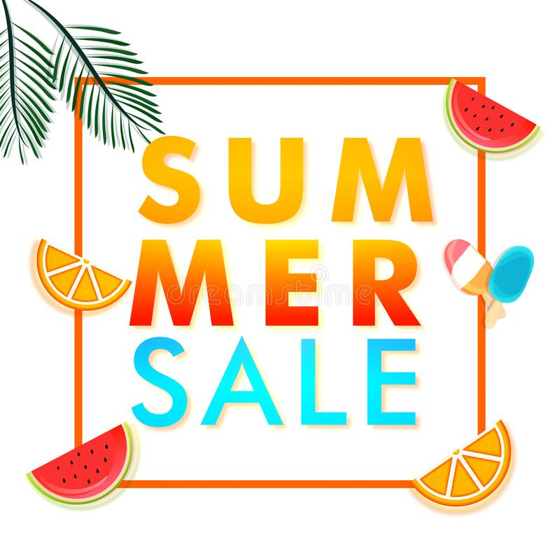 Summer sale banner design with stylish watermelon slice, ice-cream and citrus fruits slice on white background. royalty free illustration