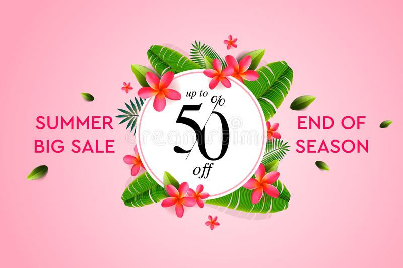Summer sale banner, design template with summer elements for product promotion, beauty and cosmetics, natural products vector illustration