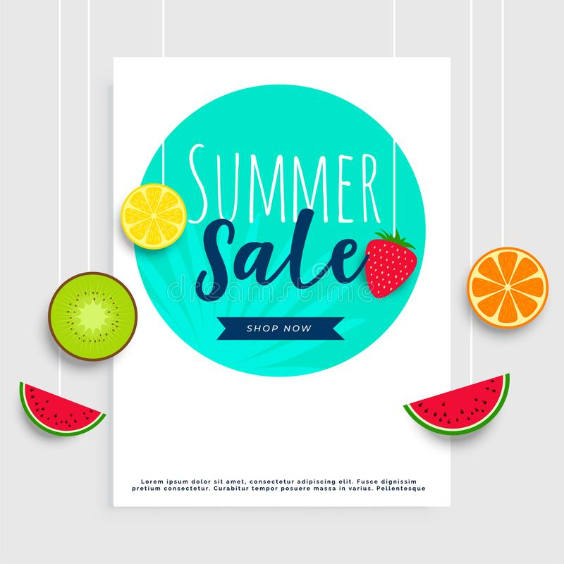 Summer sale banner with hanging fruits stock illustration