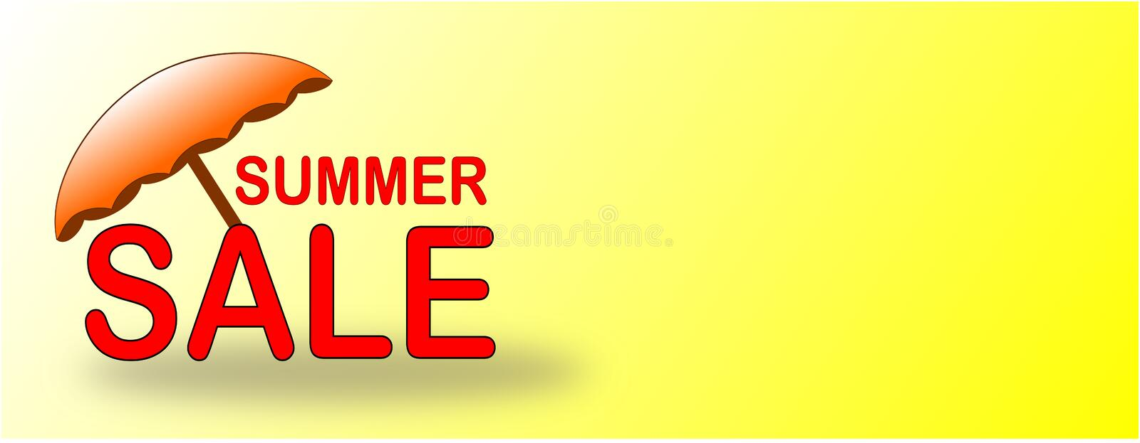 Summer Sale banner with orange beach umbrella royalty free stock images
