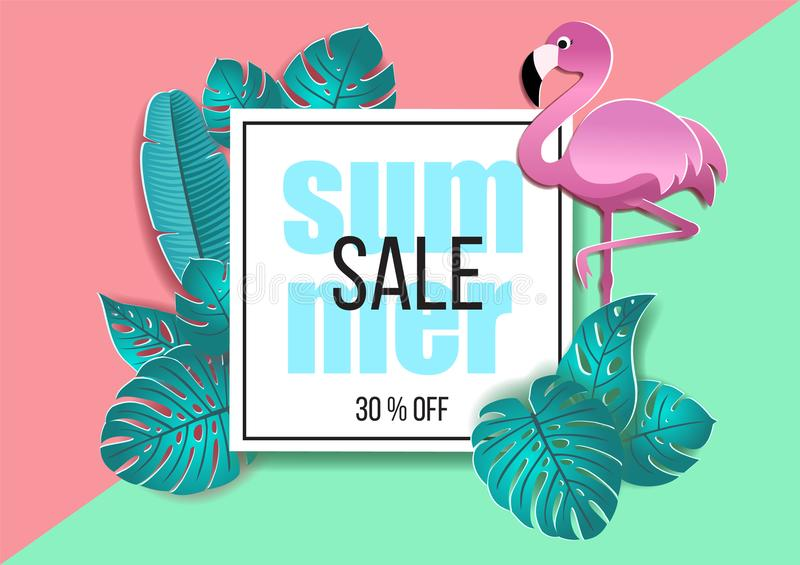 Summer sale banner with paper cut flamingo and stylized tropical leaves. Vector design for banner, flyer, invitation, poster, web stock illustration