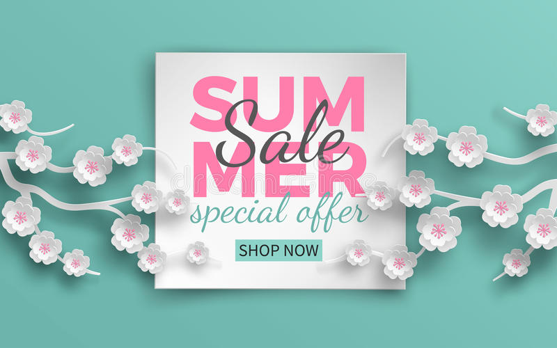 Summer sale banner with paper cut frame and blooming pink cherry flowers on green floral background for banner, flyer, poster vector illustration