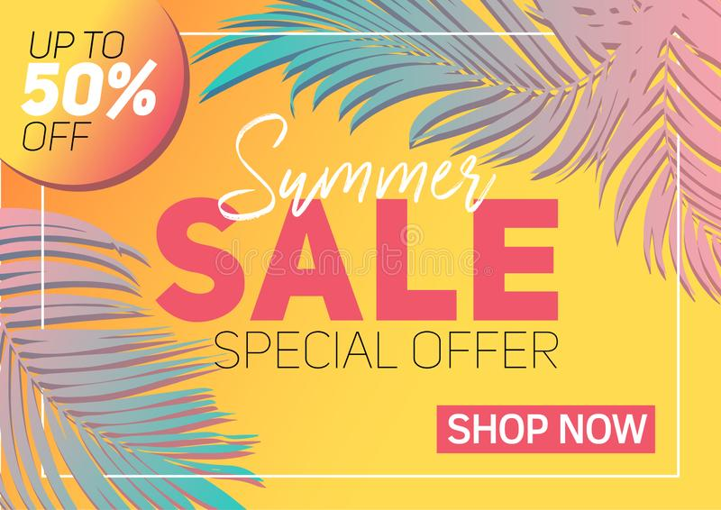 Summer sale banner tropical leaves royalty free stock photography