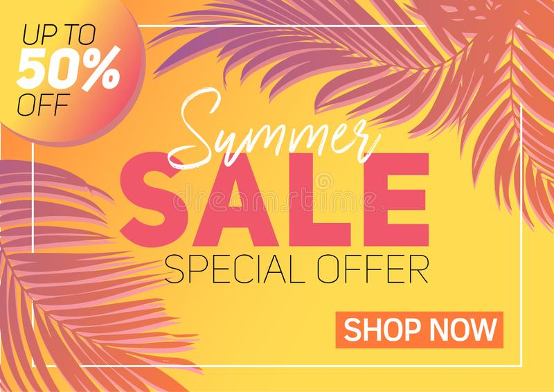 Summer sale banner tropical leaves stock photos