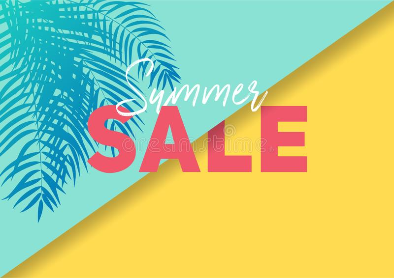 Summer sale banner with paper cut tropical leaves background, exotic floral design royalty free stock photos