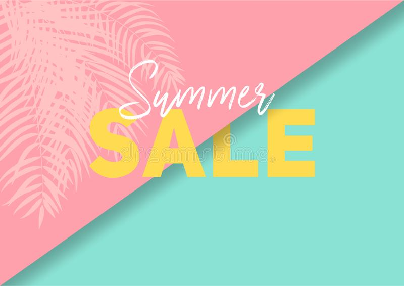 Summer sale banner with paper cut tropical leaves background, exotic floral design stock photo
